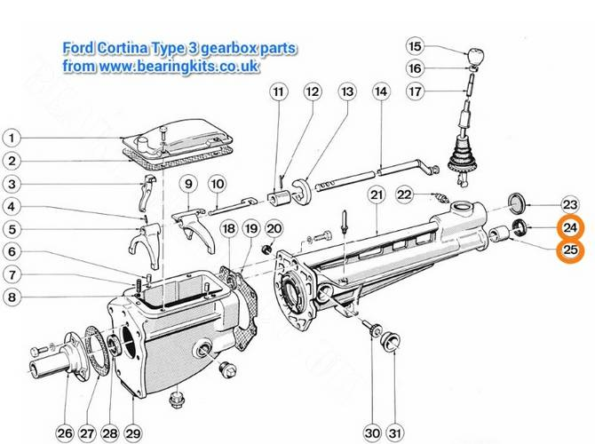 ford gearbox parts - ford type 3 gearbox parts