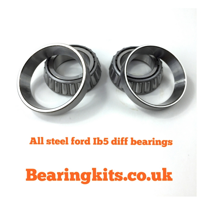 Pair of all steel Ford iB5 gearbox differential taper roller bearings