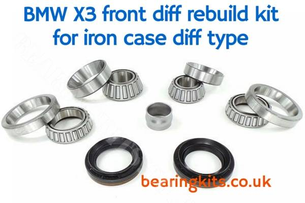 BMW X3 E83 front diff unit rebuild bearing kit for E83 Iron case type